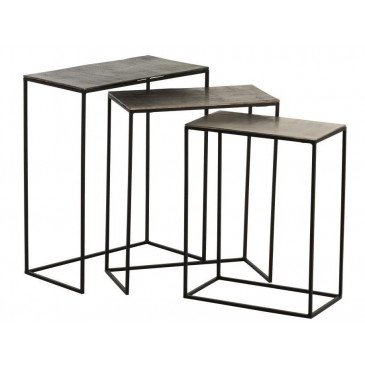 Set De 3 Tables Gigogne Rectangulaires Aluminium Noir/Mix | www.cosy-home-design.fr