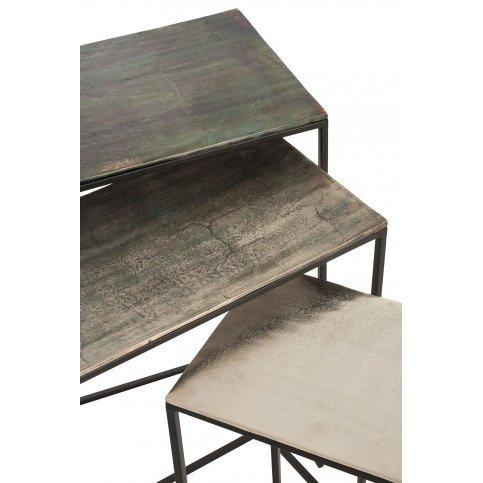 Set De 3 Tables Gigogne Rectangulaires Aluminium Noir/Mix   www.cosy-home-design.fr