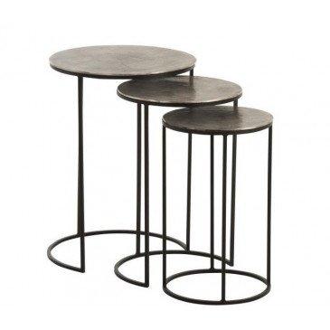 Set De 3 Tables Gigogne Rondes Aluminium Noir/Gris | www.cosy-home-design.fr