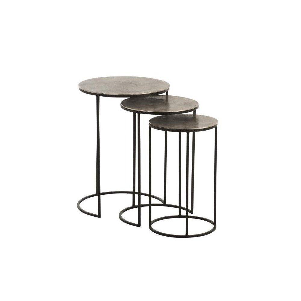 Set De 3 Tables Gigogne Rondes Aluminium Noir/Gris   www.cosy-home-design.fr
