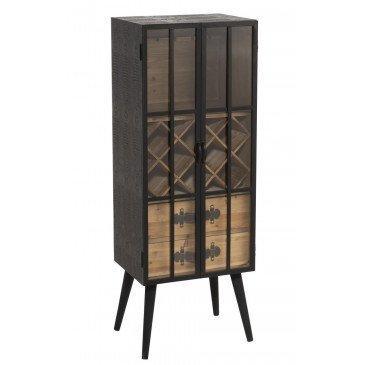 Meuble Bar 2 Tiroirs Bois/Verre Noir | www.cosy-home-design.fr