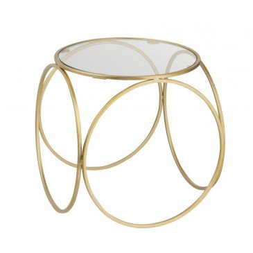 Table Gigogne Cercles Bas Verre/Métal Or | www.cosy-home-design.fr
