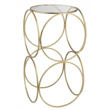Table Gigogne Cercles Haut Verre/Métal Or | www.cosy-home-design.fr