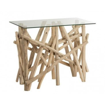 Console Rectangulaire Branches Bois/Verre Naturel | www.cosy-home-design.fr