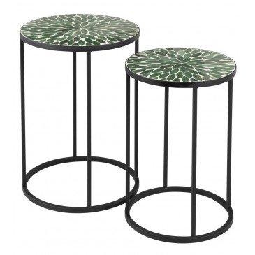 Set De 2 Tables Gigogne Rondes Mosaiques Feuilles Verre/Métal Vert | www.cosy-home-design.fr