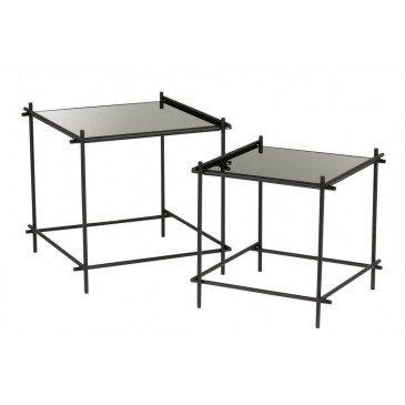 Set De 2 Tables Gigogne Carrées Métal/Verre Noir | www.cosy-home-design.fr