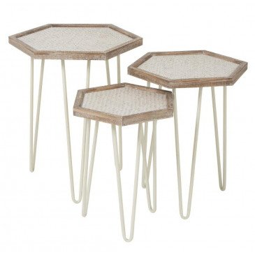 Set De 3 Tables Gigogne Hexagonales Métal/Sapin Crème/Naturel | www.cosy-home-design.fr