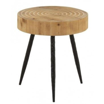 Table Gigogne Cercles Bois/Métal Naturel/Noir | www.cosy-home-design.fr