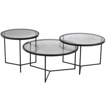Set De 3 Tables Gigogne Cercles Métal/Verre Noir | www.cosy-home-design.fr
