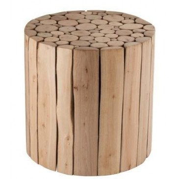 Table Gigogne Ronde Rondins Bois D'eucalyptus Naturel | www.cosy-home-design.fr