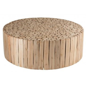 Table Basse Ronde Rondins Bois D'eucalyptus Naturel | www.cosy-home-design.fr