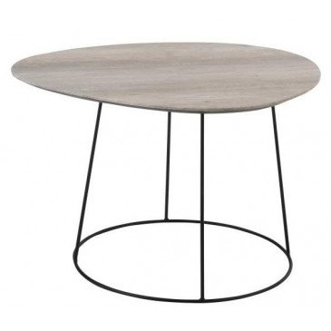 Table Basse Ovale MDF/Métal Naturel/Noir Petit | www.cosy-home-design.fr