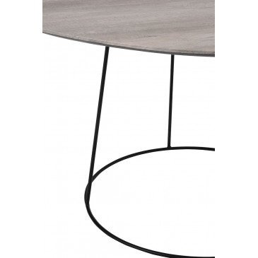 Table Basse Ovale MDF/Métal Naturel/Noir Petit | www.cosy-home-design.fr