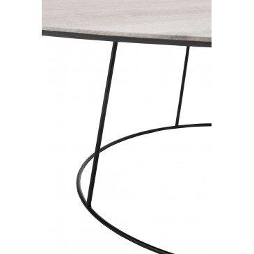 Table Basse Ovale MDF/Métal Naturel/Noir Large | www.cosy-home-design.fr