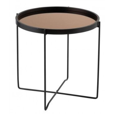 Table Gigogne Miroir Rond MDF/Métal Noir/Rose Glossy | www.cosy-home-design.fr