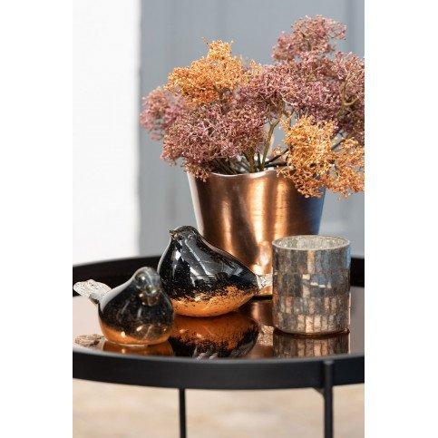 Table Basse Miroir Rond MDF/Métal Noir/Rose Glossy Petit | www.cosy-home-design.fr