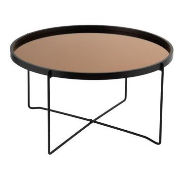 Table Basse Miroir Rond MDF/Métal Noir/Rose Glossy Large | www.cosy-home-design.fr