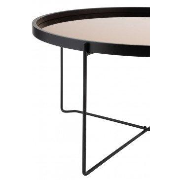 Table Basse Miroir Rond MDF/Métal Noir/Rose Glossy Large | www.cosy-home-design.fr