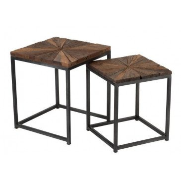 Set De 2 Tables Gigogne Shanil Bois/Métal Naturel/Gris | www.cosy-home-design.fr