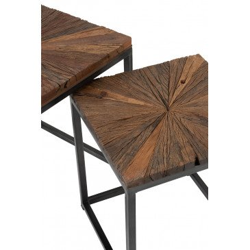 Set De 2 Tables Gigogne Shanil Bois/Métal Naturel/Gris | www.cosy-home-design.fr