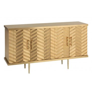 Enfilade 4 Portes Chevrons Laiton/MDF Or | www.cosy-home-design.fr