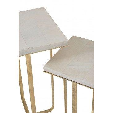 Set De 2 Tables Gigognes Dyca Bois De Manguier/Métal Blanc/Or   www.cosy-home-design.fr