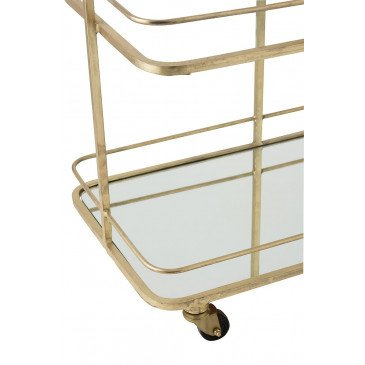 Chariot 3 Planches 4 Roues Métal/Verre Or   www.cosy-home-design.fr