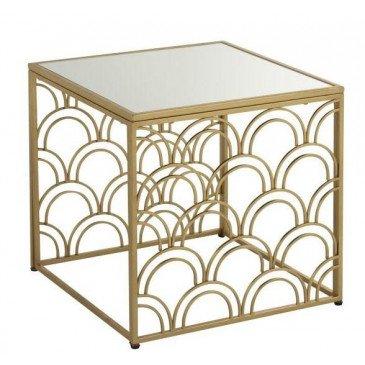 Table Gigogne Arcs De Cercle Carré Métal/Verre Or | www.cosy-home-design.fr