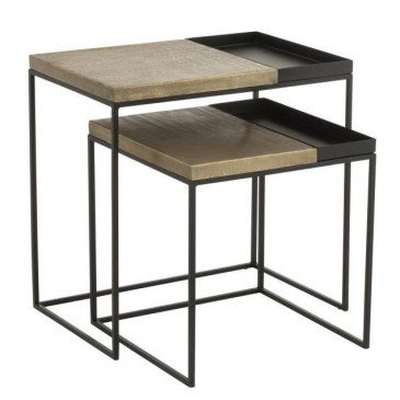 Set De 2 Tables Gigogne Métal Or/Noir | www.cosy-home-design.fr