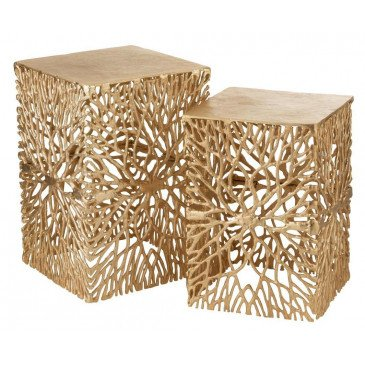 Set De 2 Tables Gigones Aluminium Or | www.cosy-home-design.fr