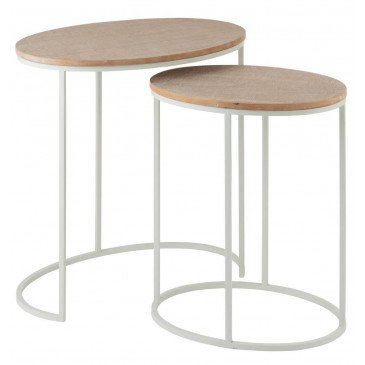 Set De 2 Tables Gigogne Ovale Métal/MDF Blanc/Naturel | www.cosy-home-design.fr