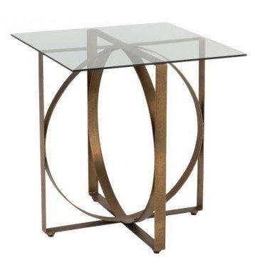 Table Gigogne Carré/Cercle Métal/Verre Or Vieilli | www.cosy-home-design.fr