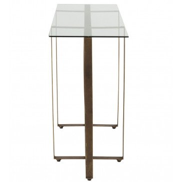 Console Rectangle/Cercle Métal/Verre Or Vieilli | www.cosy-home-design.fr