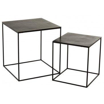 Set De 2 Tables Gigogne Carrées Oxidize Aluminium/Métal Antique Noir/Vert | www.cosy-home-design.fr