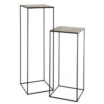 Set De 2 Tables Gigogne Hautes Carrées Métal Noir et Vert | www.cosy-home-design.fr