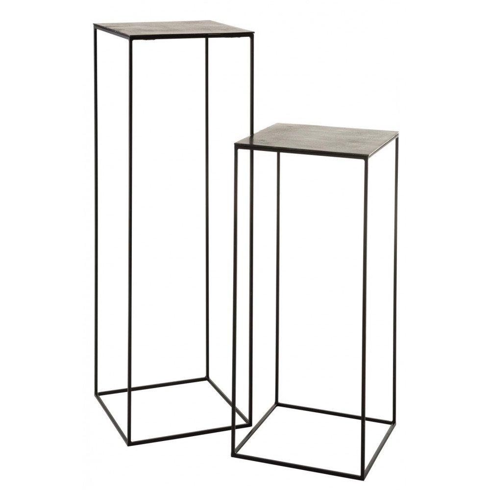 Set De 2 Tables Gigogne Hautes Carrées Métal Noir et Vert   www.cosy-home-design.fr