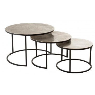 Set De 3 Tables Gigogne Ronde Aluminium/Métal Brillant Argent | www.cosy-home-design.fr