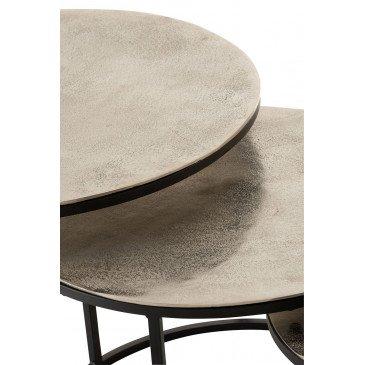 Set De 3 Tables Gigogne Ronde Aluminium/Métal Brillant Argent | www.cosy-home-design.fr