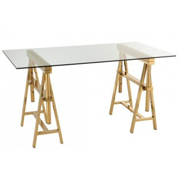 Bureau Ajustable Acier Inoxydable/Verre Or/Transparent | www.cosy-home-design.fr