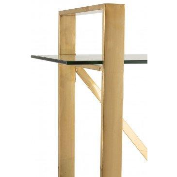 Etagère 4 Planches Croix Acier Inoxydable/Verre Trempé Or/Transparent   www.cosy-home-design.fr