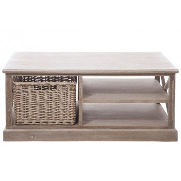Table Basse Rectangulaire Avec Panier Bois Gris | www.cosy-home-design.fr