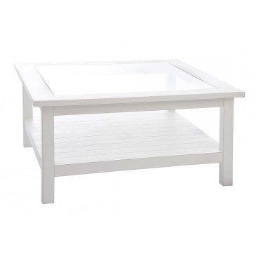 Table Basse Carrée Composée De Bois Et Verre Blanc | www.cosy-home-design.fr