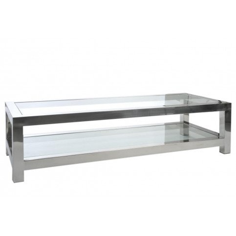 Table Basse Acierier Inoxydable/Verre Argent | www.cosy-home-design.fr