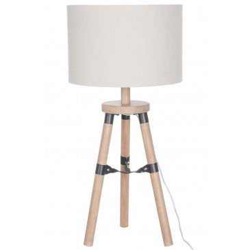 Lampe Trépied Bois Naturel/Beige S | www.cosy-home-design.fr
