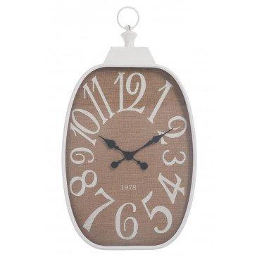 Horloge Chiffres Rectangulaire Métal Blanc/Jute | www.cosy-home-design.fr