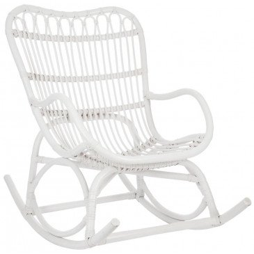 Fauteuil A Bascule Rotin Blanc Mat | www.cosy-home-design.fr