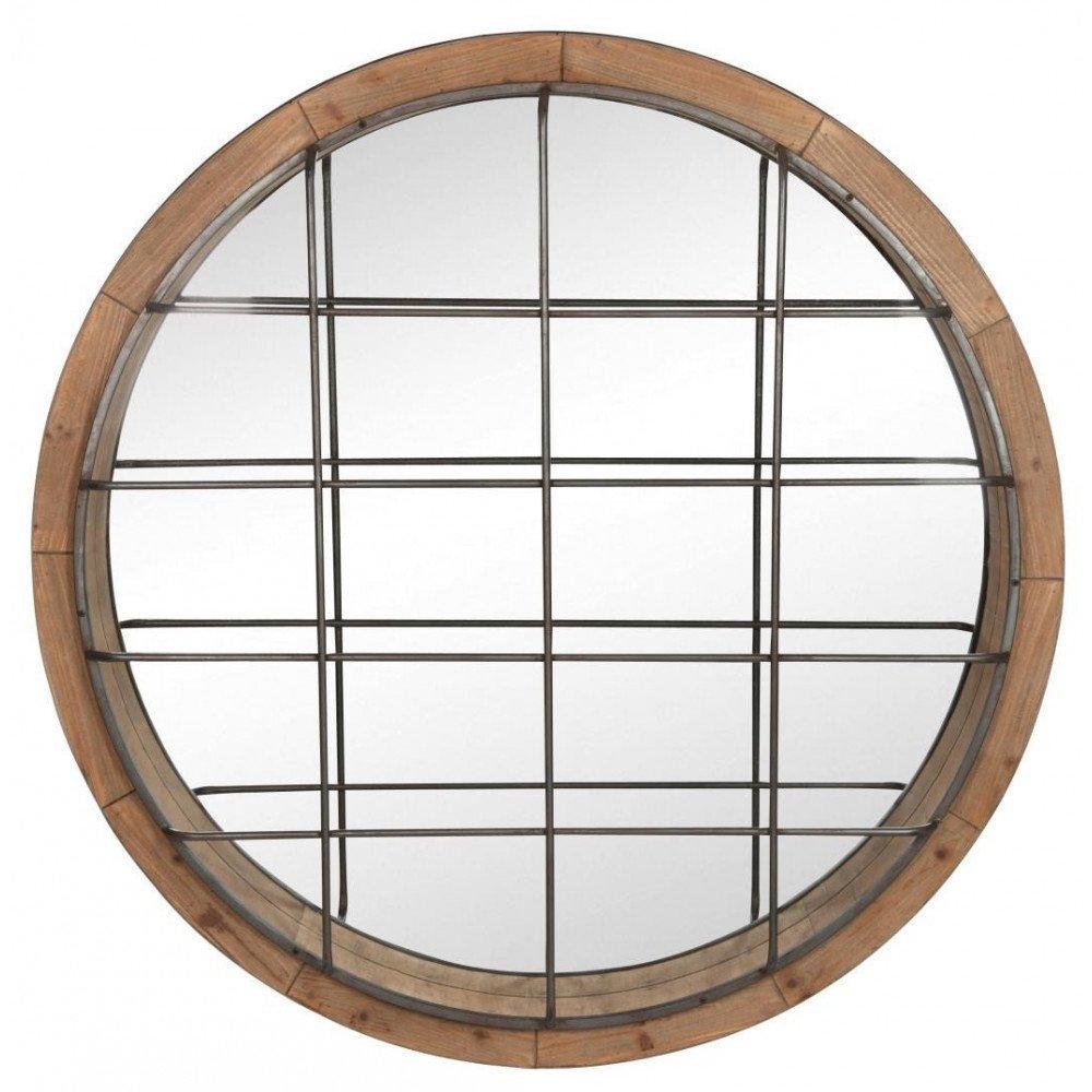 Miroir Rond Quadrillé Bois/Fer Naturel/Noir | www.cosy-home-design.fr