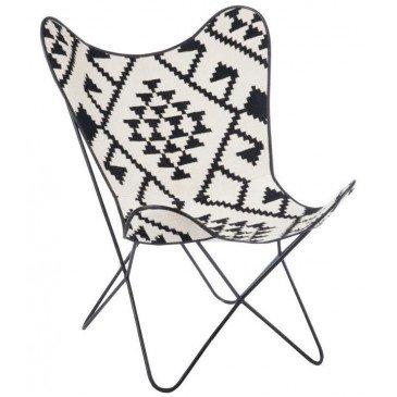 Chaise Lounge Jute/Métal Noir/Blanc | www.cosy-home-design.fr