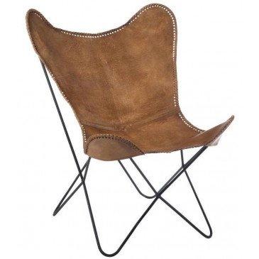 Chaise Lounge Cuir/Métal Cognac | www.cosy-home-design.fr