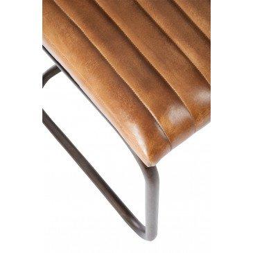 Chaise Moderne Cuir/Métal Cognac | www.cosy-home-design.fr